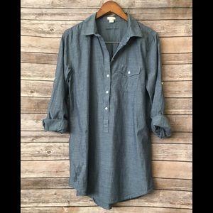 J.Crew denim chambray popover tunic shirt